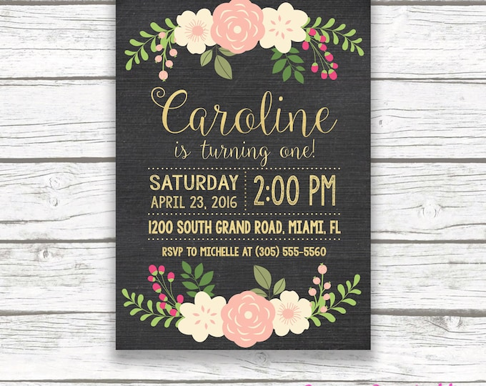 Chalkboard Gold Foil First Birthday Invitation, Girl One 1st Birthday Pink Peach Floral, Printed or Printable Invitation, Matching Back