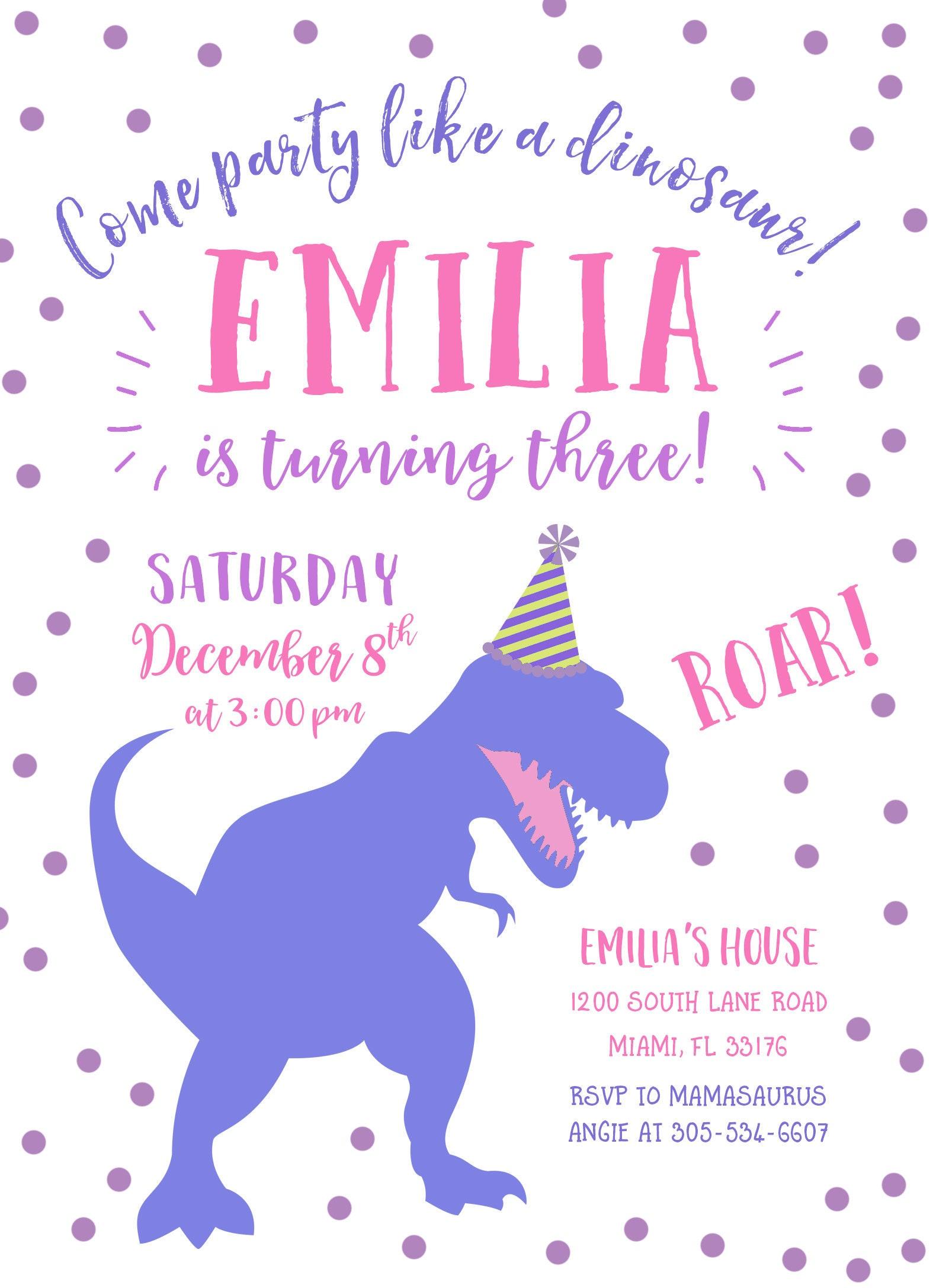 Girl Dinosaur Birthday Invitation, Girl Dinosaur Invitation, Pink ...