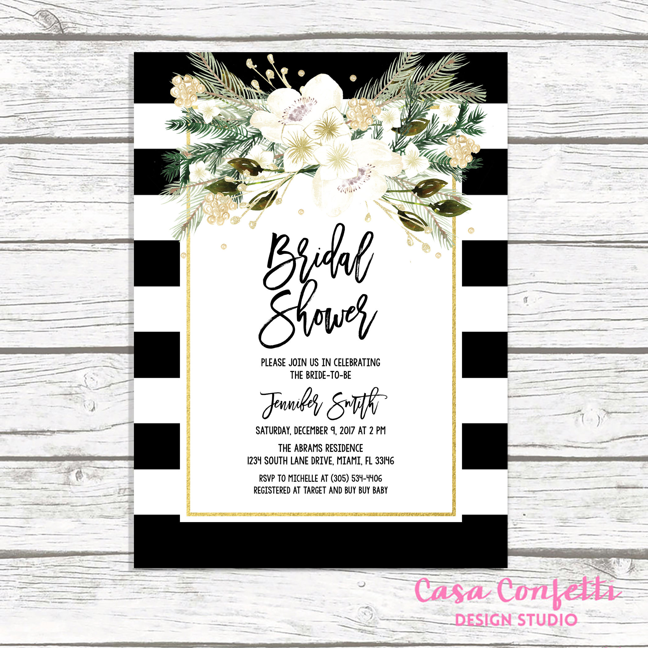 Christmas Bridal Shower Invitation, Black and White Stripe Bridal ...