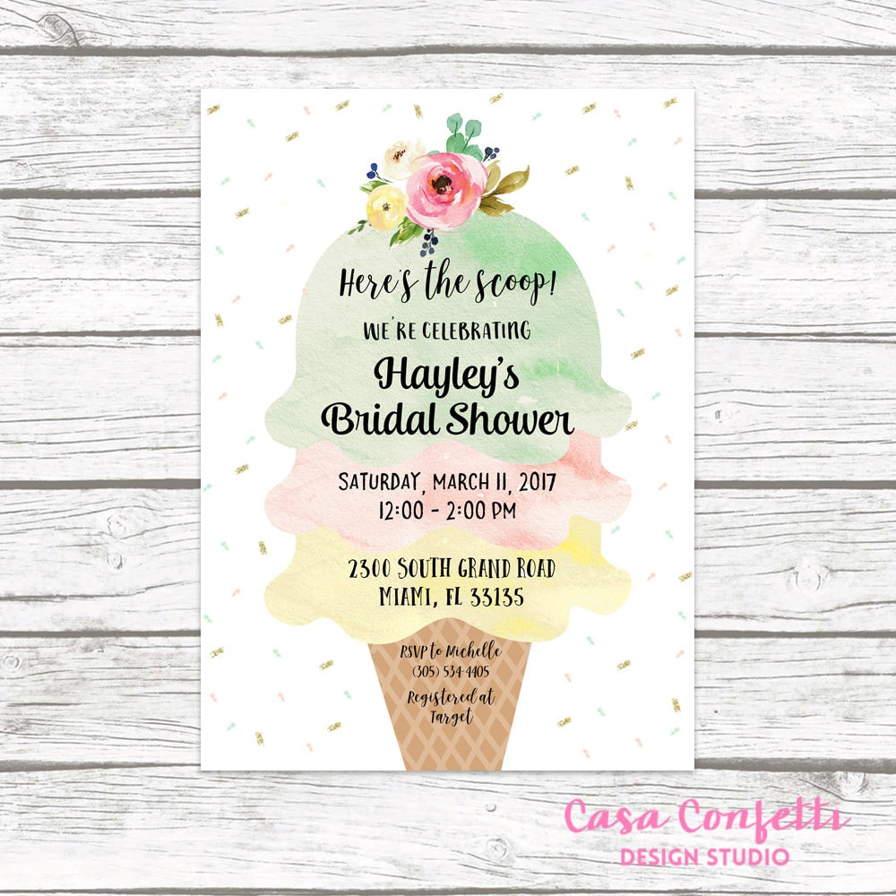 ice cream bridal shower invitation ice cream social invitation watercolor bridal shower invite sprinkle bridal shower printable