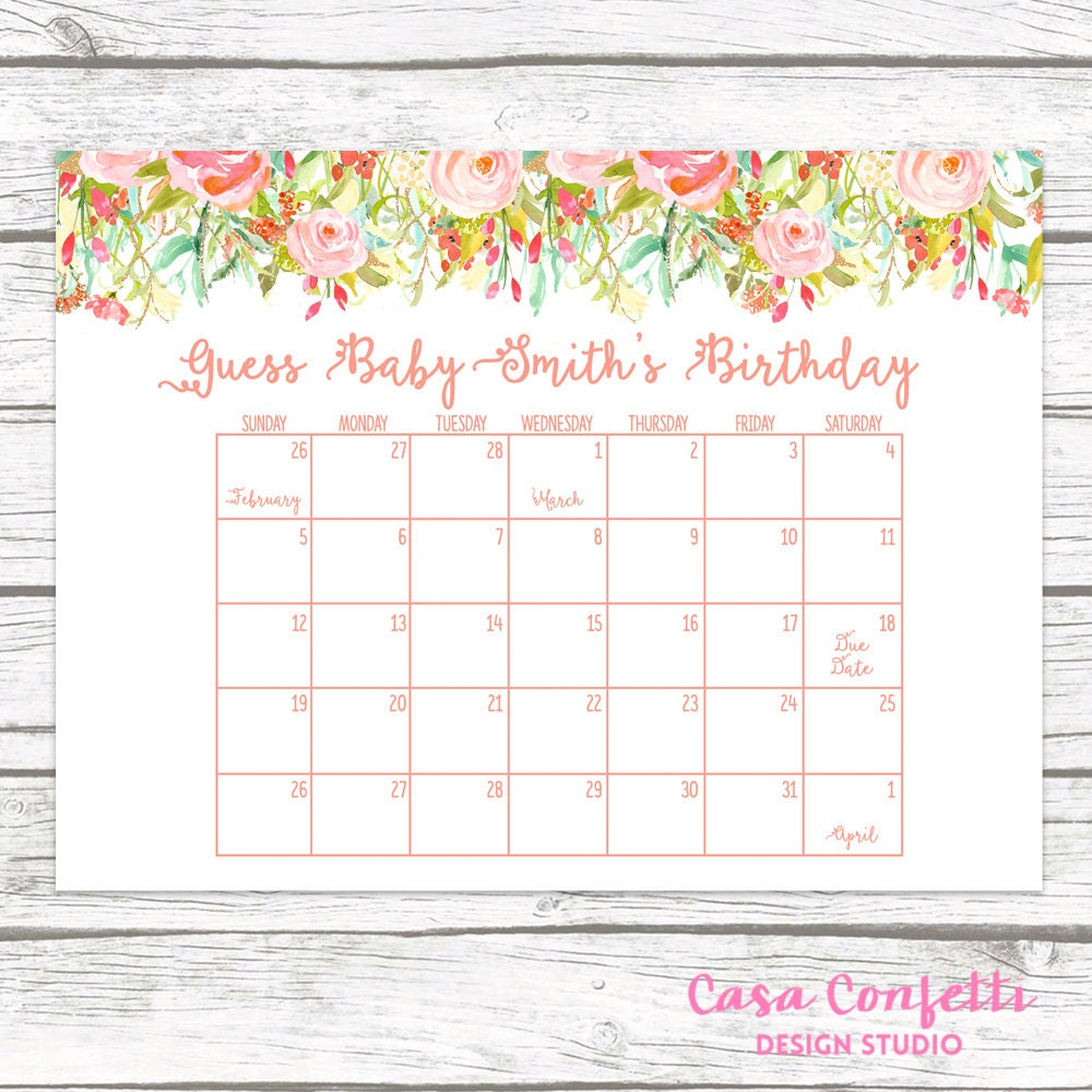 Baby Calendar May : Due date calendar guess baby s shower game