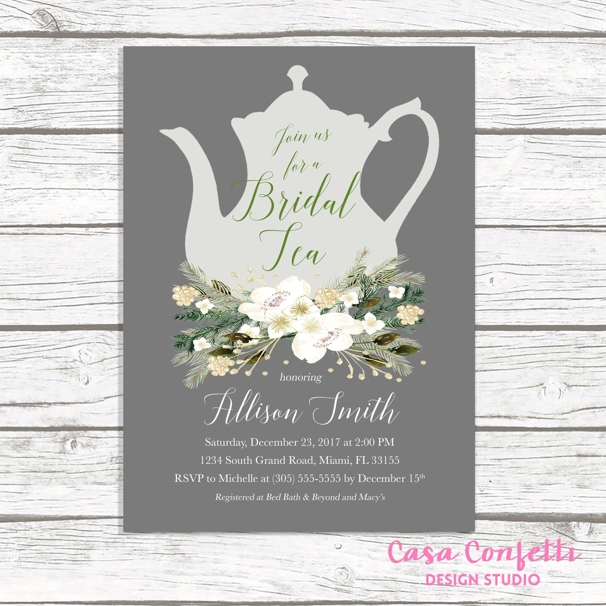 christmas bridal shower invitation bridal tea invitation tea party