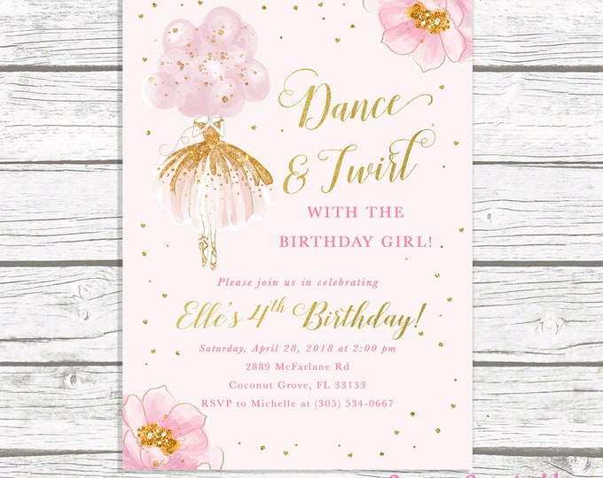 Ballerina Birthday Invitation, Ballet Birthday Invitation, Dance and Twirl, Pink and Gold Birthday Invitation Girl, Floral Birthday Invite