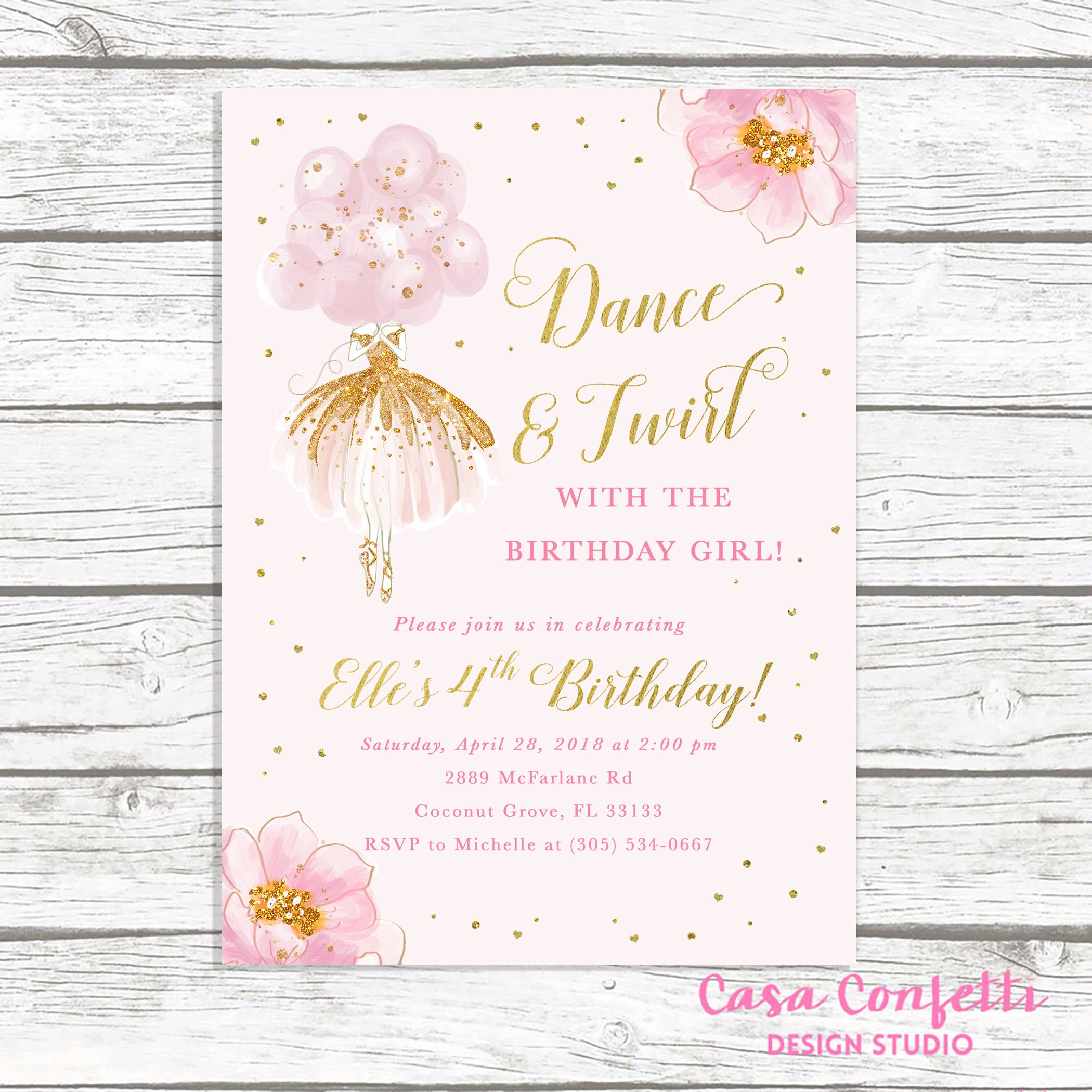 Ballerina Birthday Invitation, Ballet Birthday Invitation, Dance and ...
