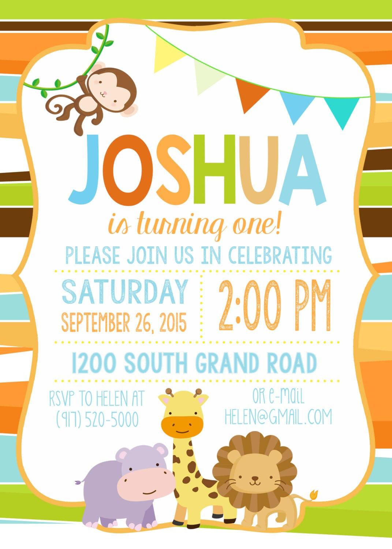 Safari Birthday Invitation, Jungle Birthday Invitation, Safari ...