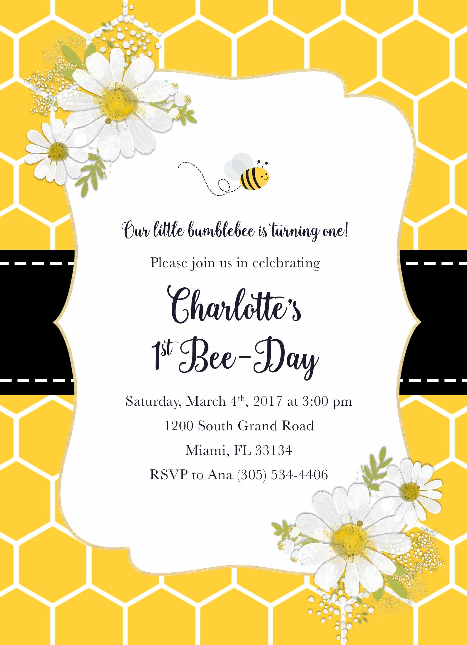 Bee Birthday Invitation, Bee Invitation, Bee-Day Invitation, Bee ...