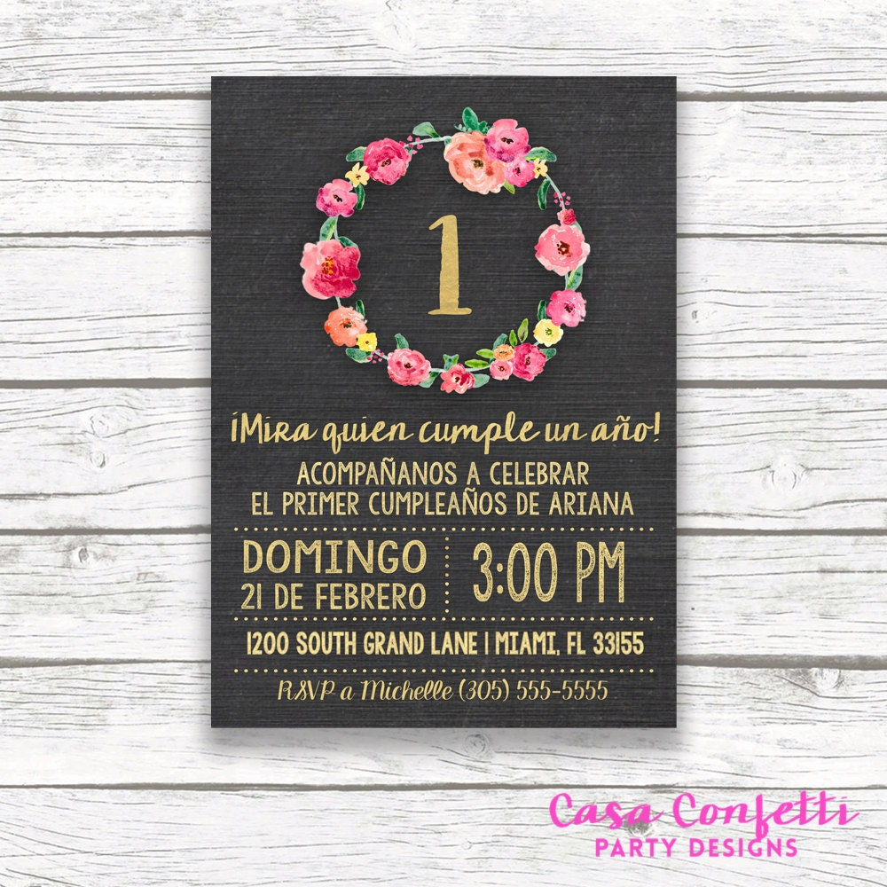 Spanish Chalkboard Gold Foil Pink First 1st Birthday Invitation