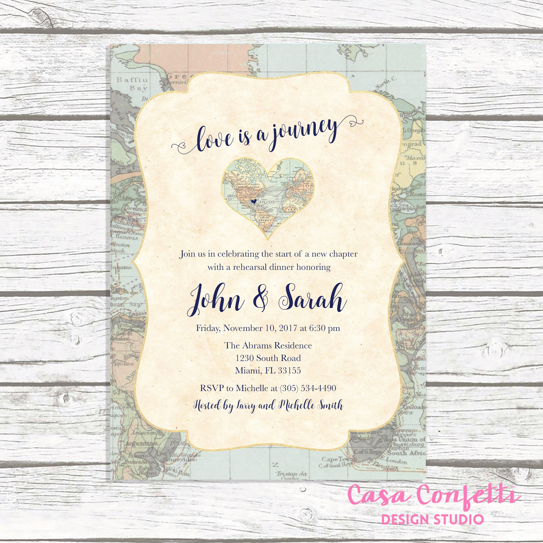 map travel rehearsal dinner invitation love is a journey adventure