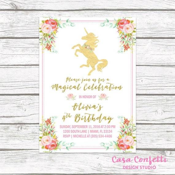 Unicorn Invitation Birthday Party Girl 1st First Pink And Gold Printable
