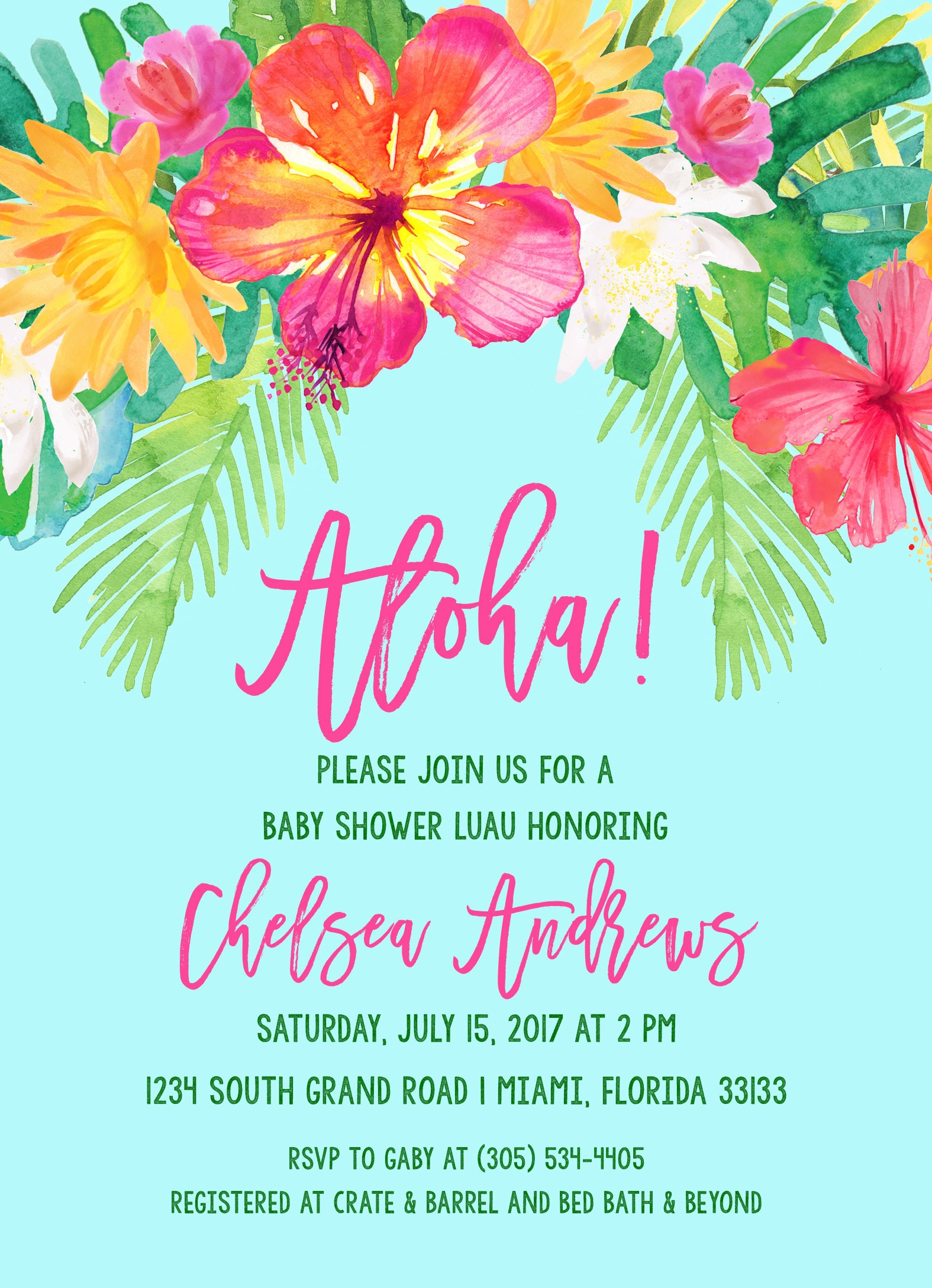 luau baby shower invitation  tropical baby shower