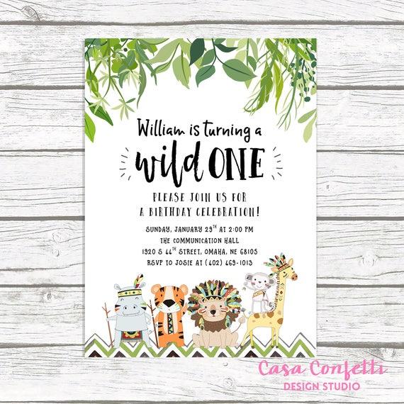 Wild One Birthday Invitation Safari