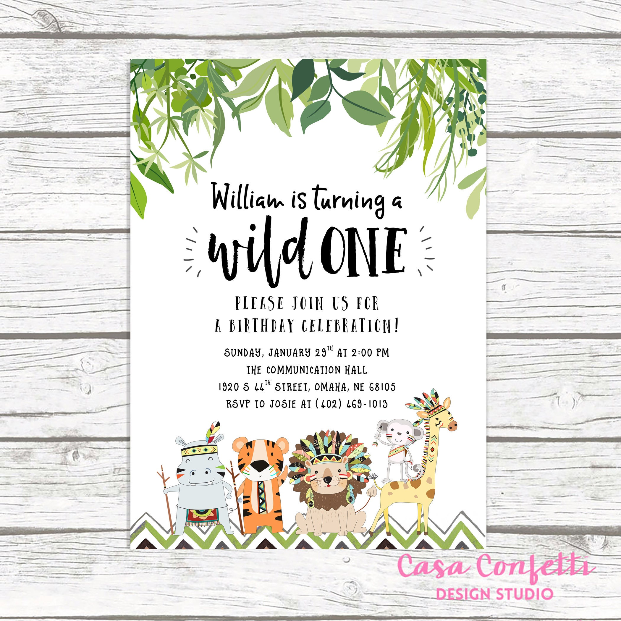 Wild One Birthday Invitation, Safari Birthday Invitation, First 1st ...