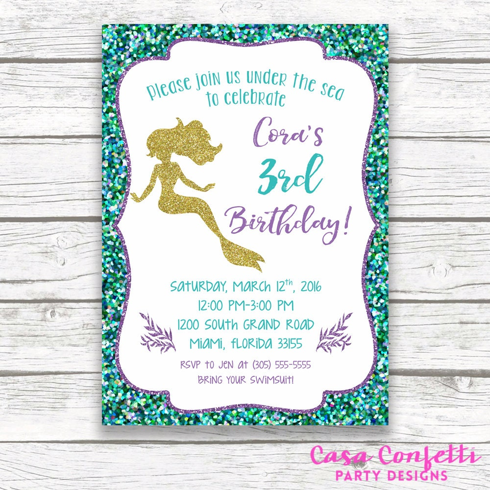 mermaid birthday invitation mermaid invitation under the sea