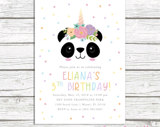 Panda Invitation, Panda Birthday Invitation, Panda Face Invitation, Pandicorn Birthday Invitation, Rainbow Birthday Party Invitation Girl