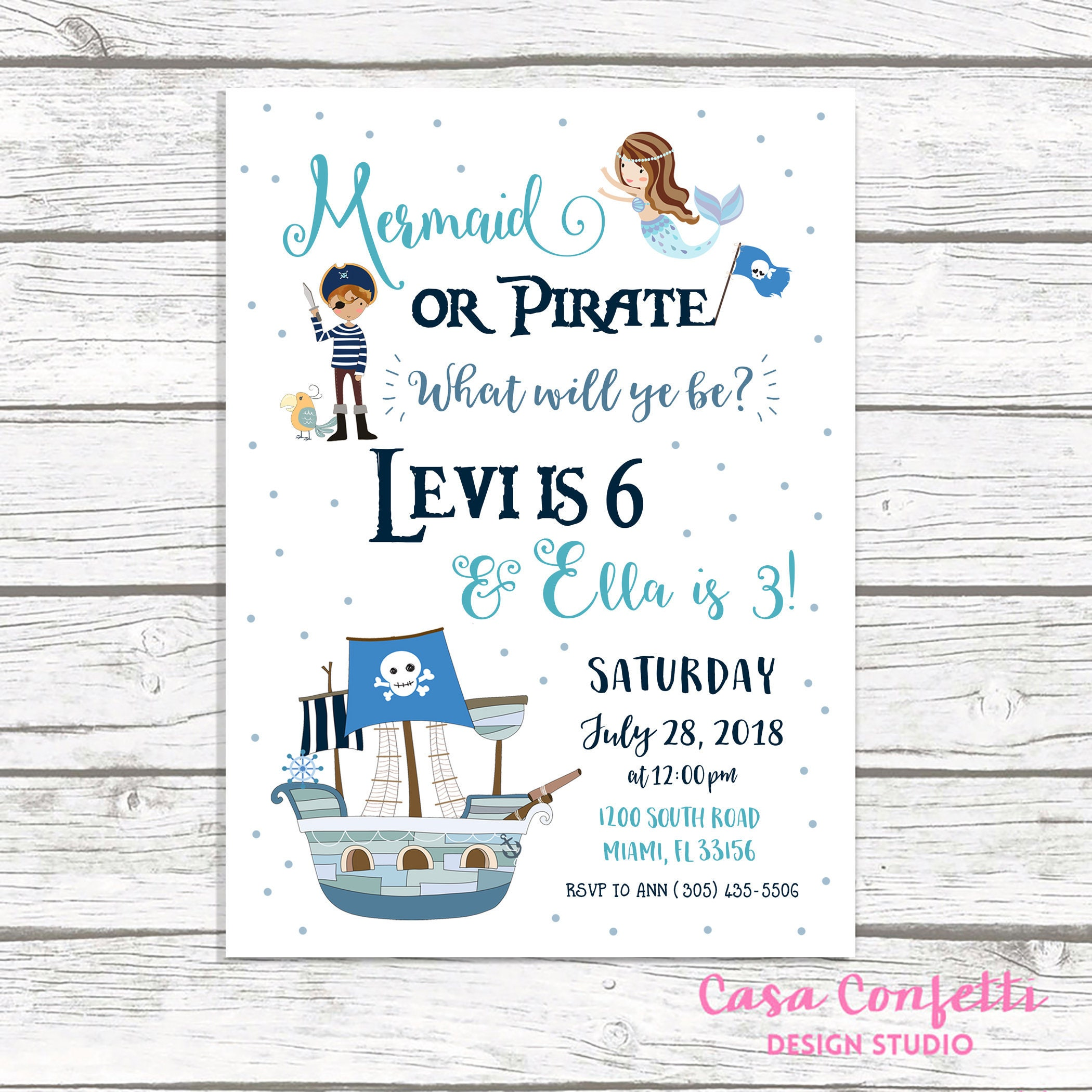 Mermaid and Pirate Birthday Invitation, Mermaid and Pirate Party ...