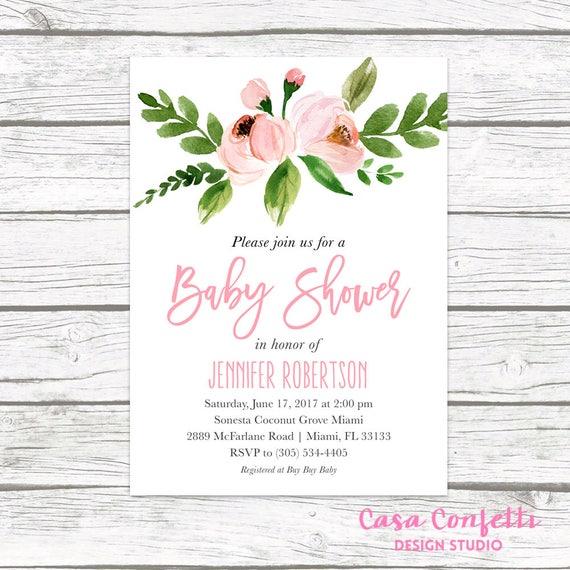 Baby shower invitation pink floral baby shower invitation etsy image 0 filmwisefo