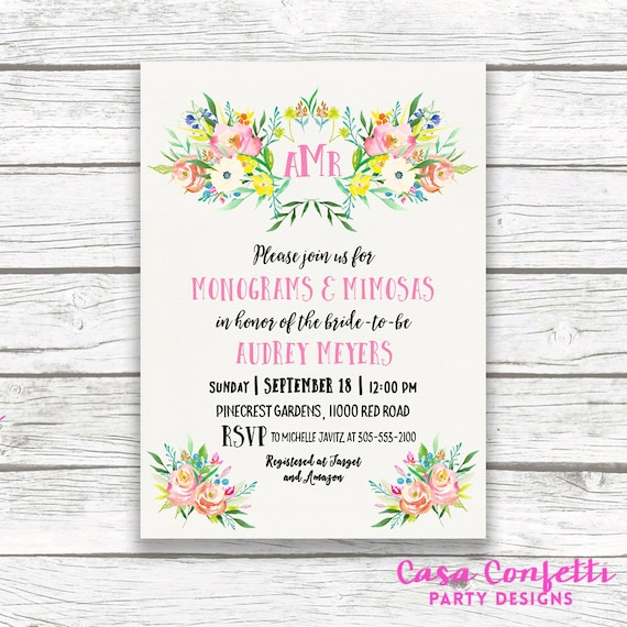 90ae2cd8bf92 Monogram Bridal Shower Invitation