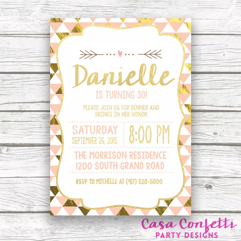 Dirty 30 Flirty Thirty Birthday Invite Printed Or Printable Invitation Gallery Photo