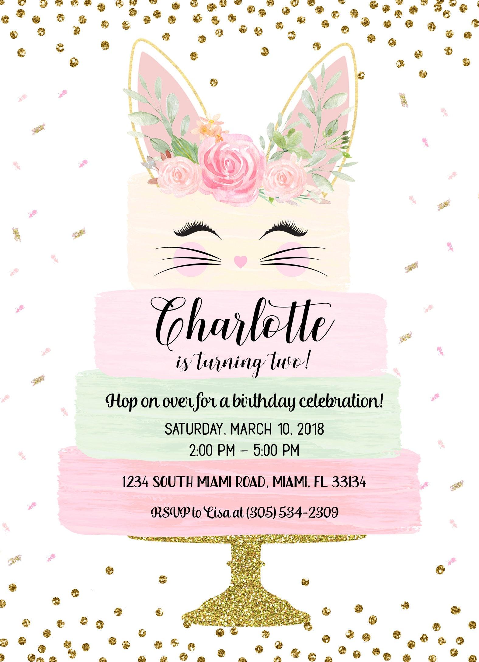 bunny birthday invitation turning somebunny invite pink floral