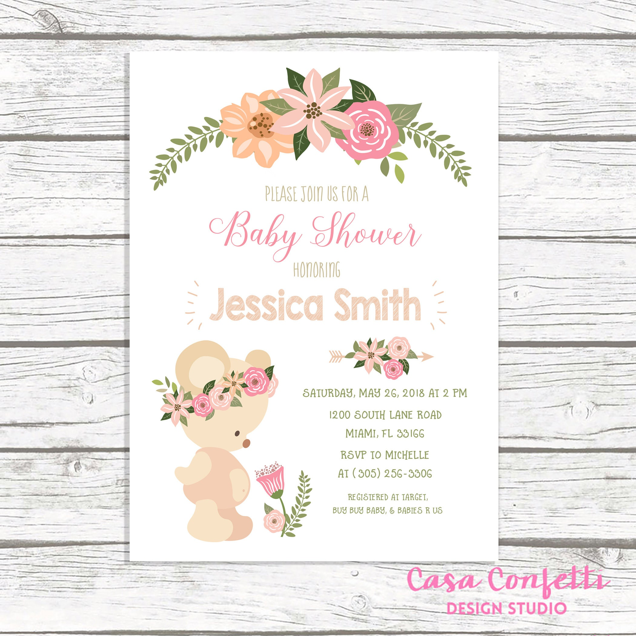 Teddy bear baby shower invitation girl teddy bear invitation boho teddy bear baby shower invitation girl teddy bear invitation boho baby shower invitation floral teddy bear invite printable invite filmwisefo
