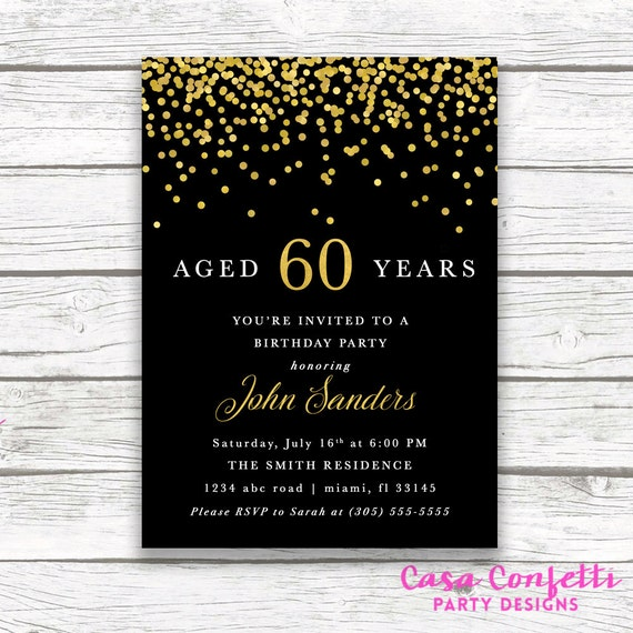 Adult Male Birthday Invitation, Black and Gold Birthday Invitation, 60th Birthday Invitation, 50th Birthday Invitation, Aged to Perfection