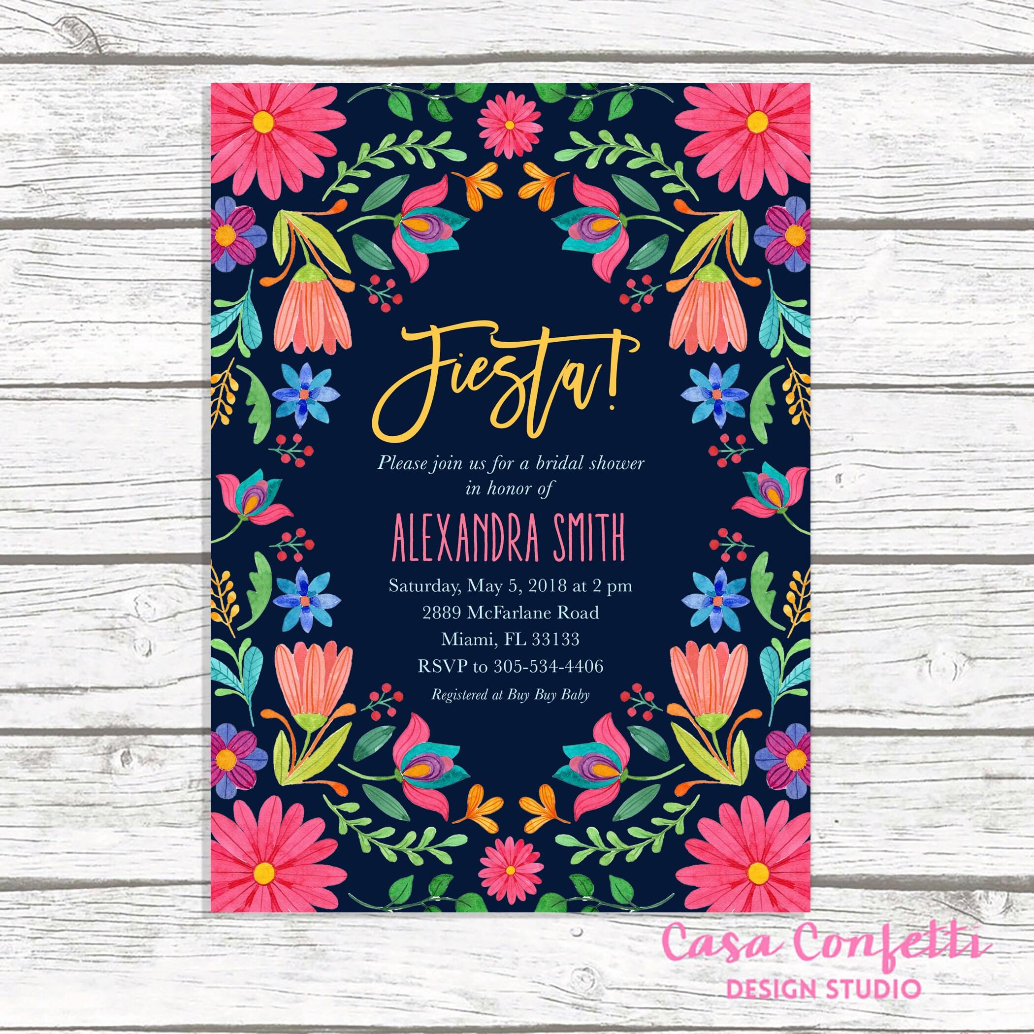 Fiesta Bridal Shower Invitation Cinco De Mayo Mexican Floral Invite