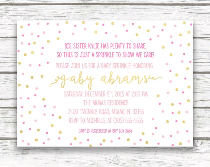 Pink and Gold Baby Sprinkle Invitation, Gold Foil Pink Confetti Baby Girl Baby Shower, Pink Ombre Sprinkle, Printed or Printable Invite