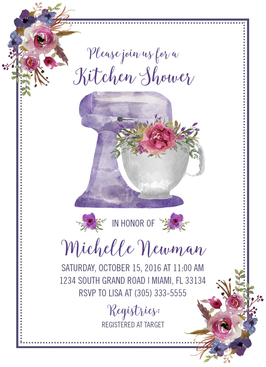 kitchen bridal shower invitation purple bridal shower invitation floral wedding shower invite watercolor stand mixer printable invitation