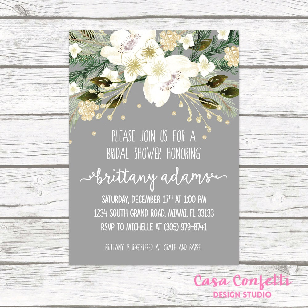 christmas bridal shower invitation winter bridal shower invitation rustic bridal shower invitation white and gold holiday invitation