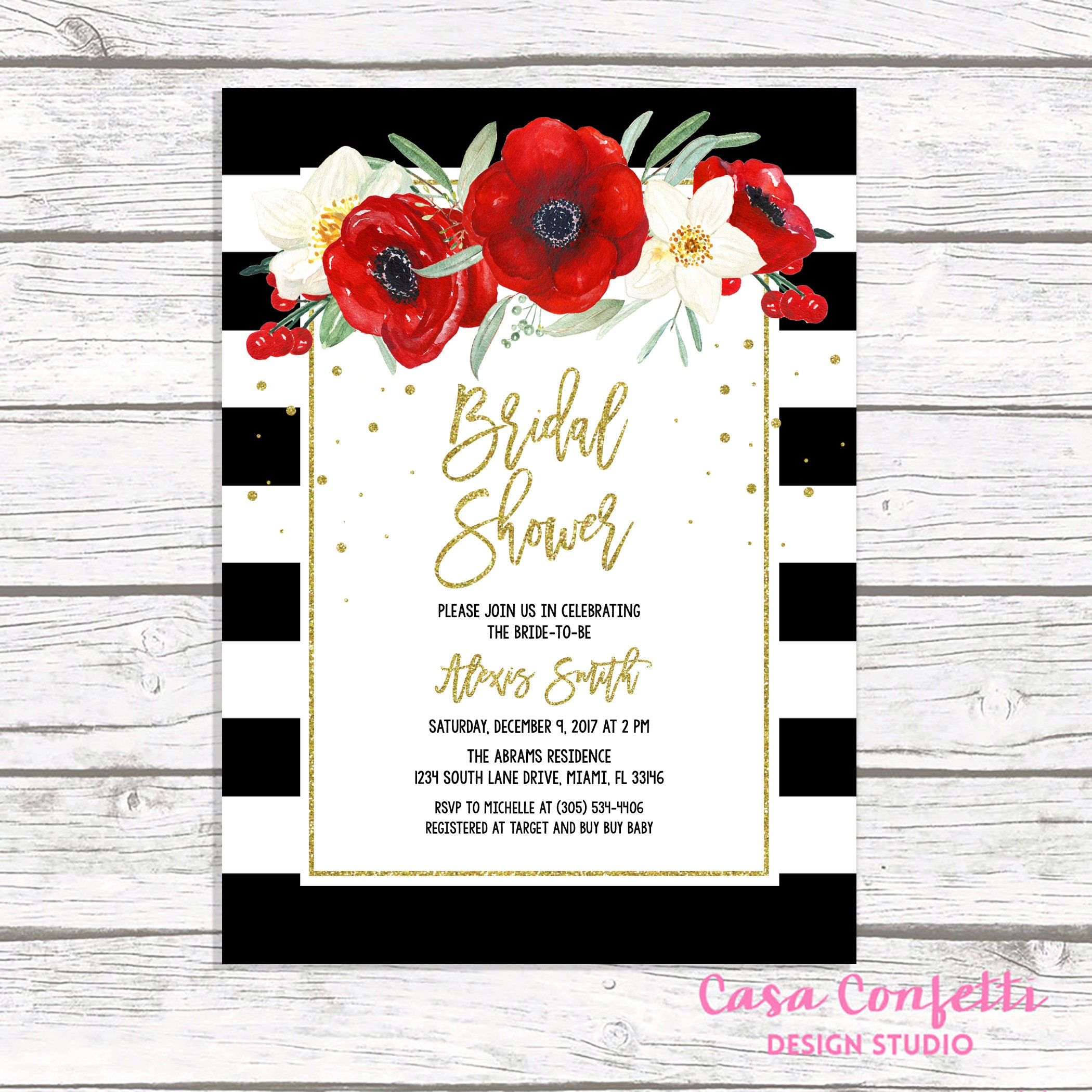 christmas bridal shower invitation black and white stripe bridal shower invitation red floral bridal shower christmas floral invite
