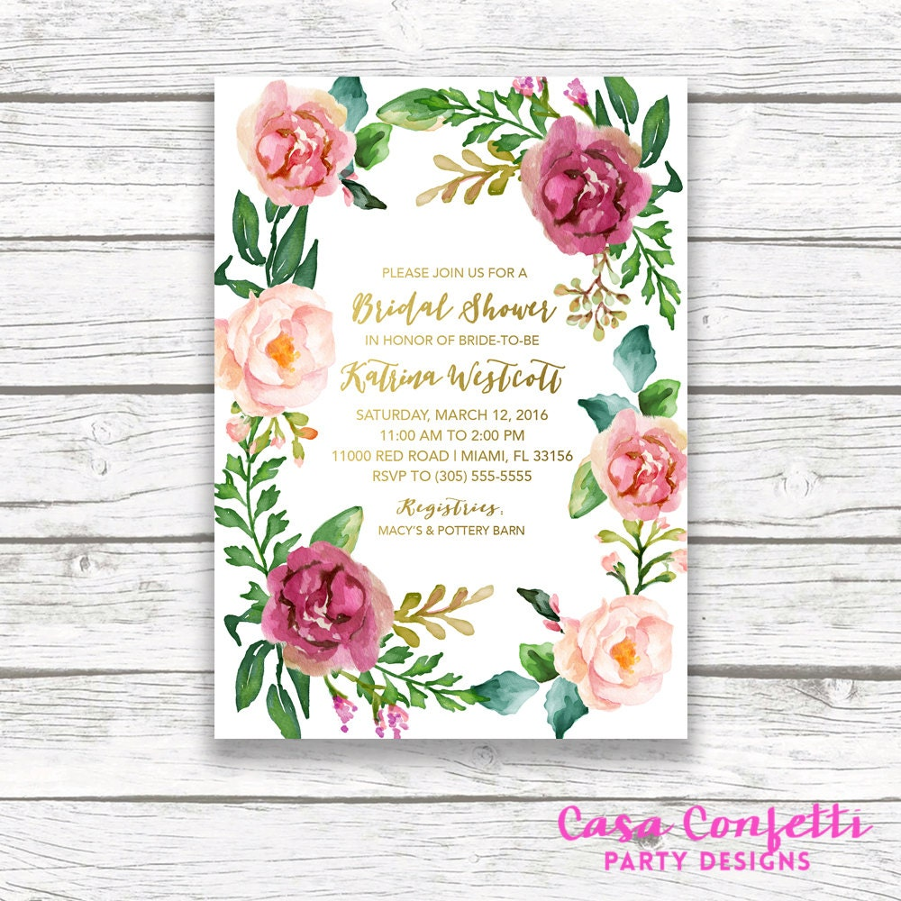 boho bridal shower invitation floral bridal shower invitation floral wreath gold foil burgundy maroon marsala watercolor printable invite