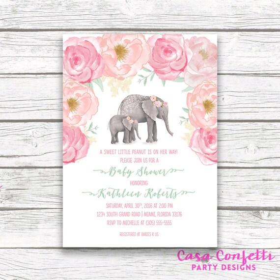 Pink elephant baby shower invitation boho baby shower floral etsy image 0 filmwisefo