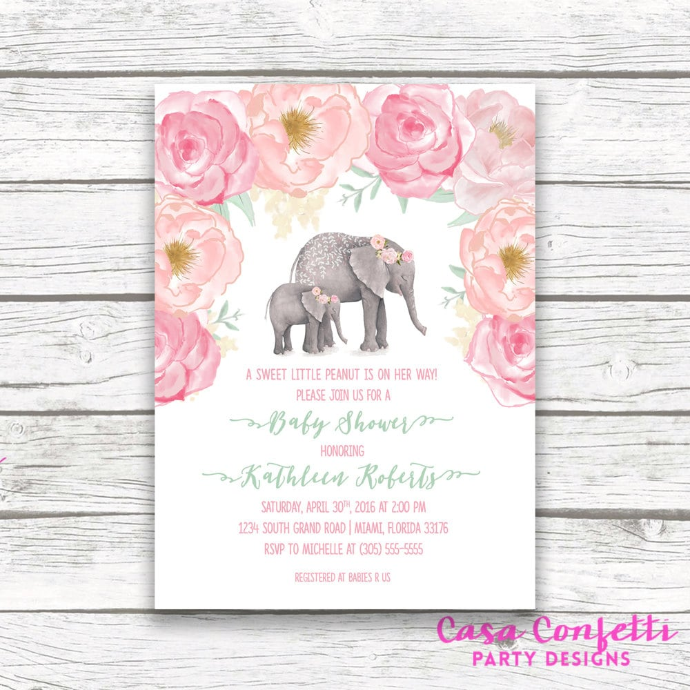 pink elephant baby shower invitation boho baby shower floral girl