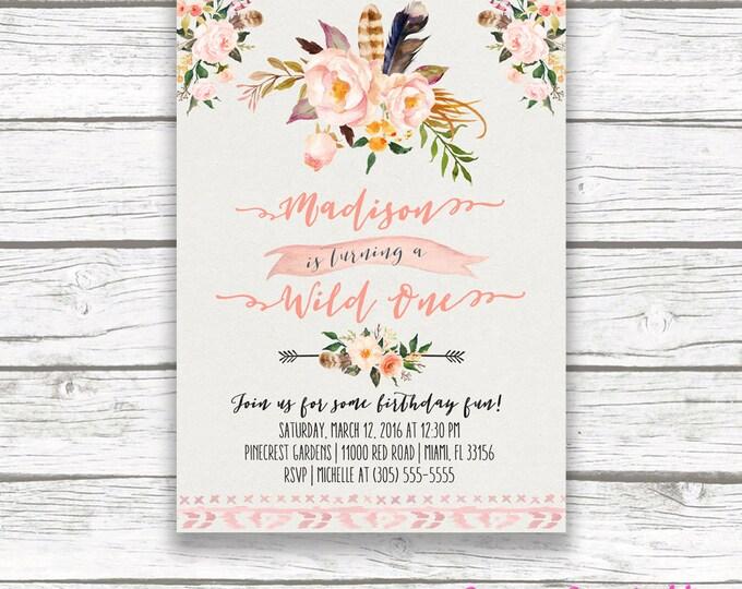 Wild One Birthday Invitation, Boho Birthday Invitation, Girl First 1st Birthday Invite, Feather Tribal Arrow Printable Birthday Party Invite