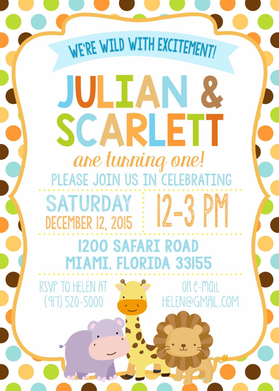 Twin Jungle Safari Birthday Party Invitation, Boy Girl Twins Monkey ...