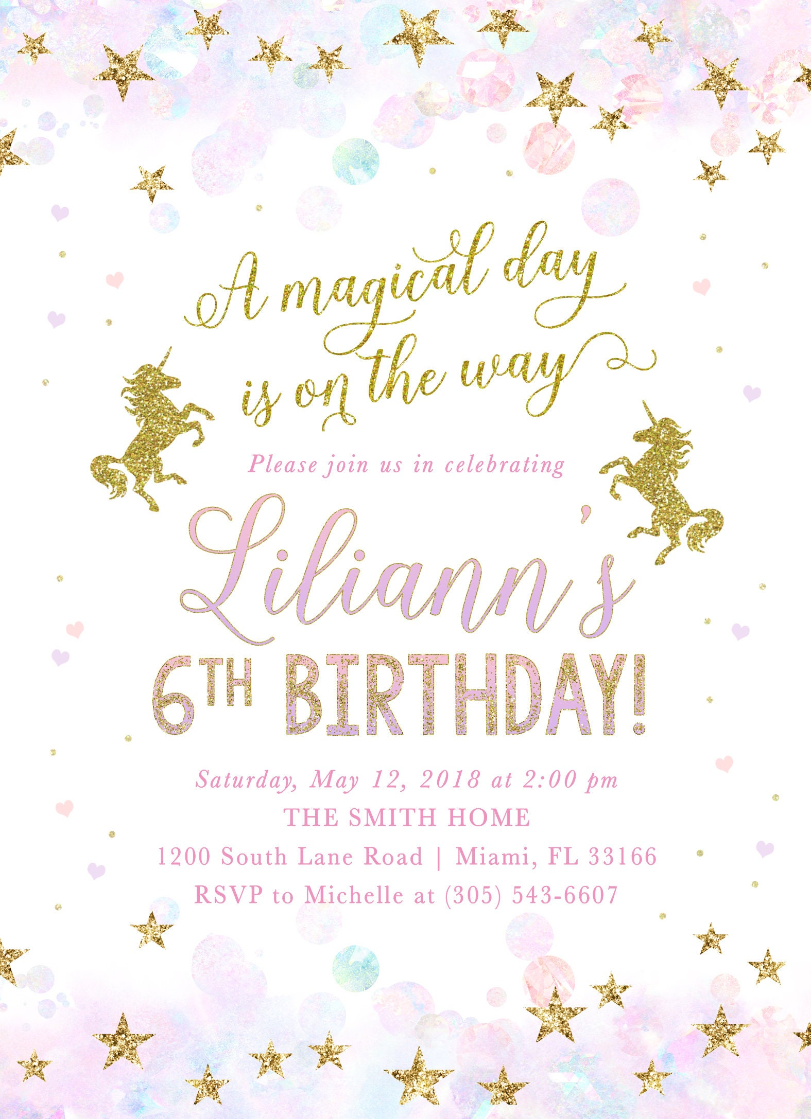 Unicorn Birthday Invitation Magical Birthday Invitation Pastel
