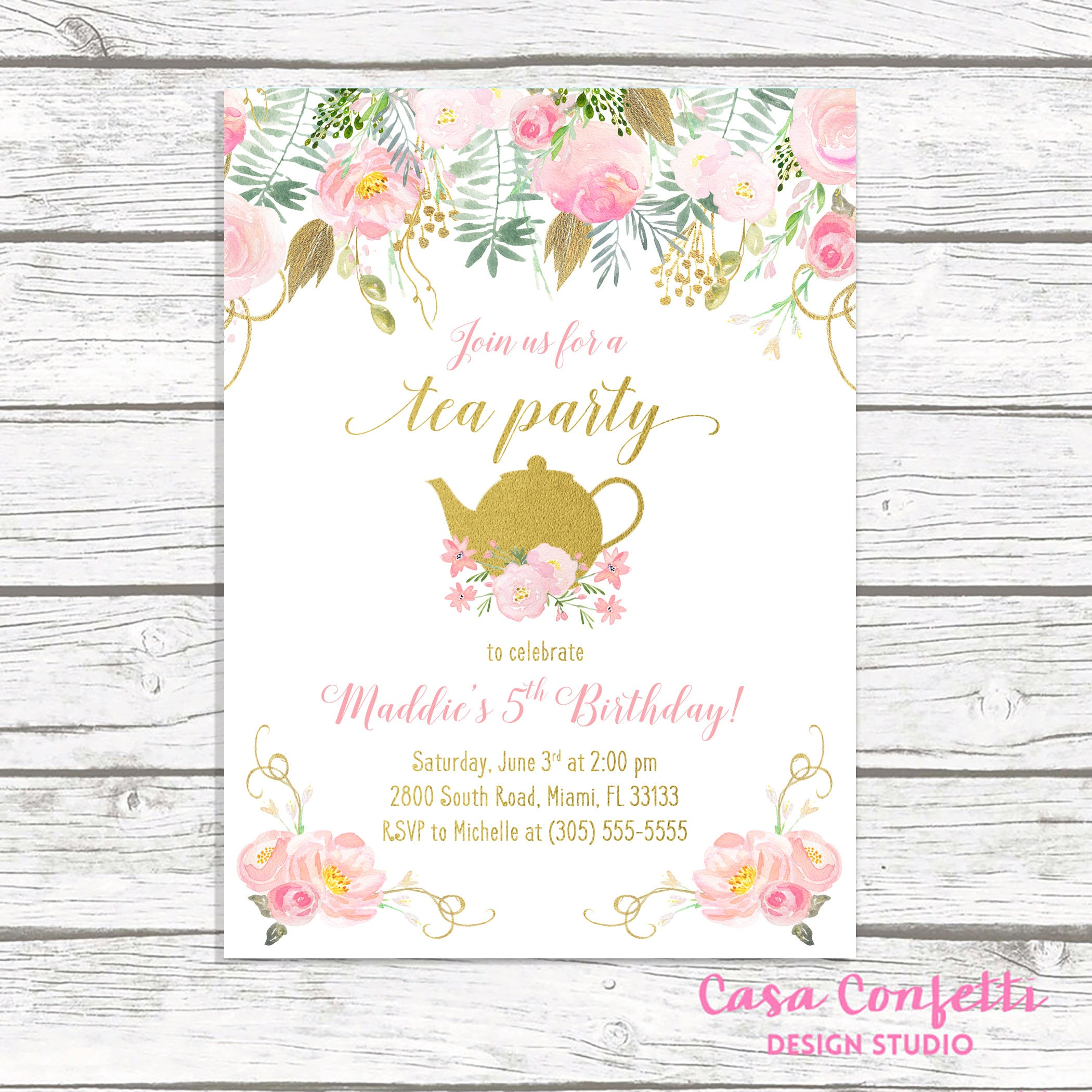 Tea Party Birthday Invitation, Tea Party Invitation, Pink and Gold ...