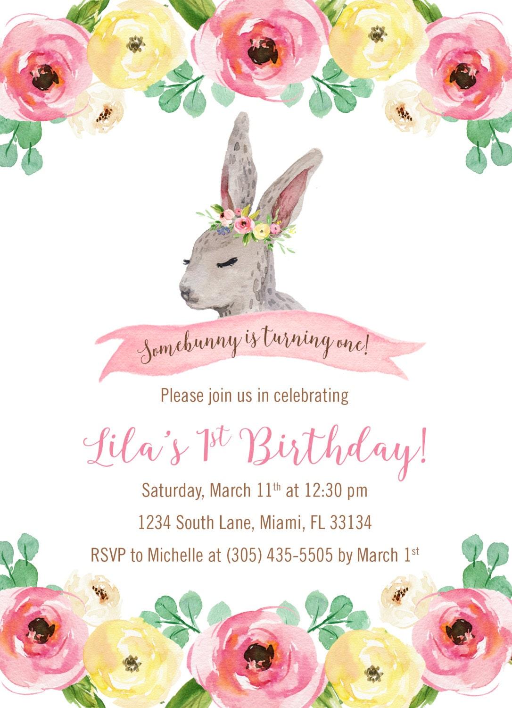 Bunny Birthday Invitation, Somebunny is One Birthday Invitation ...