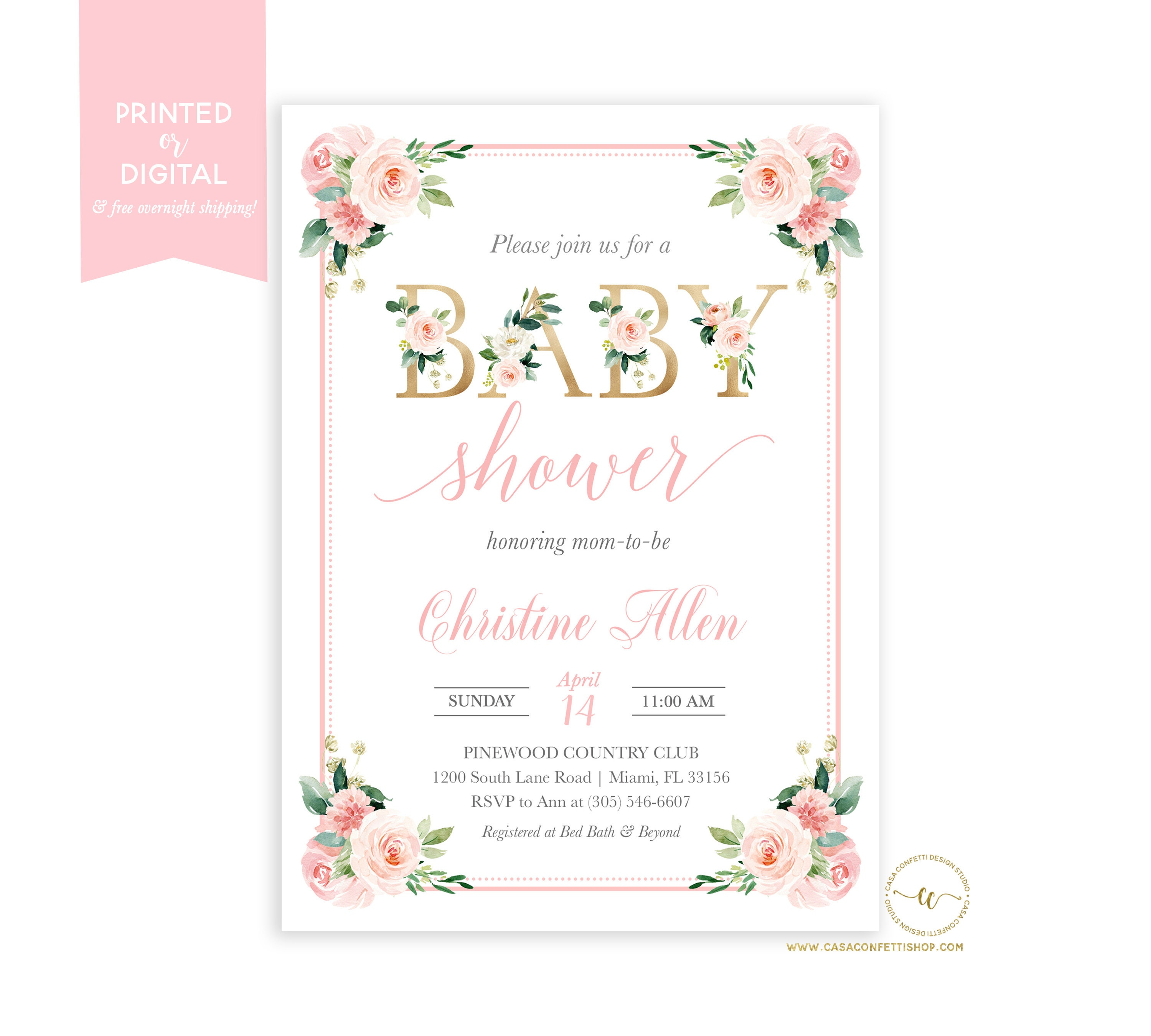 d8927dccc ... Floral Baby Shower Brunch Invitation