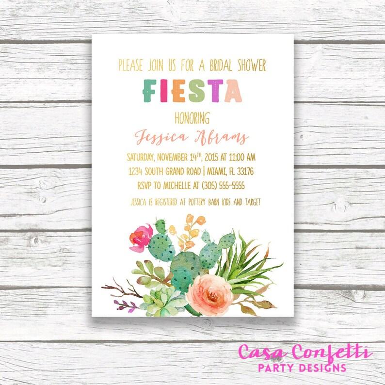 29507583c78 Fiesta Bridal Shower Invitation Cactus Bridal Shower