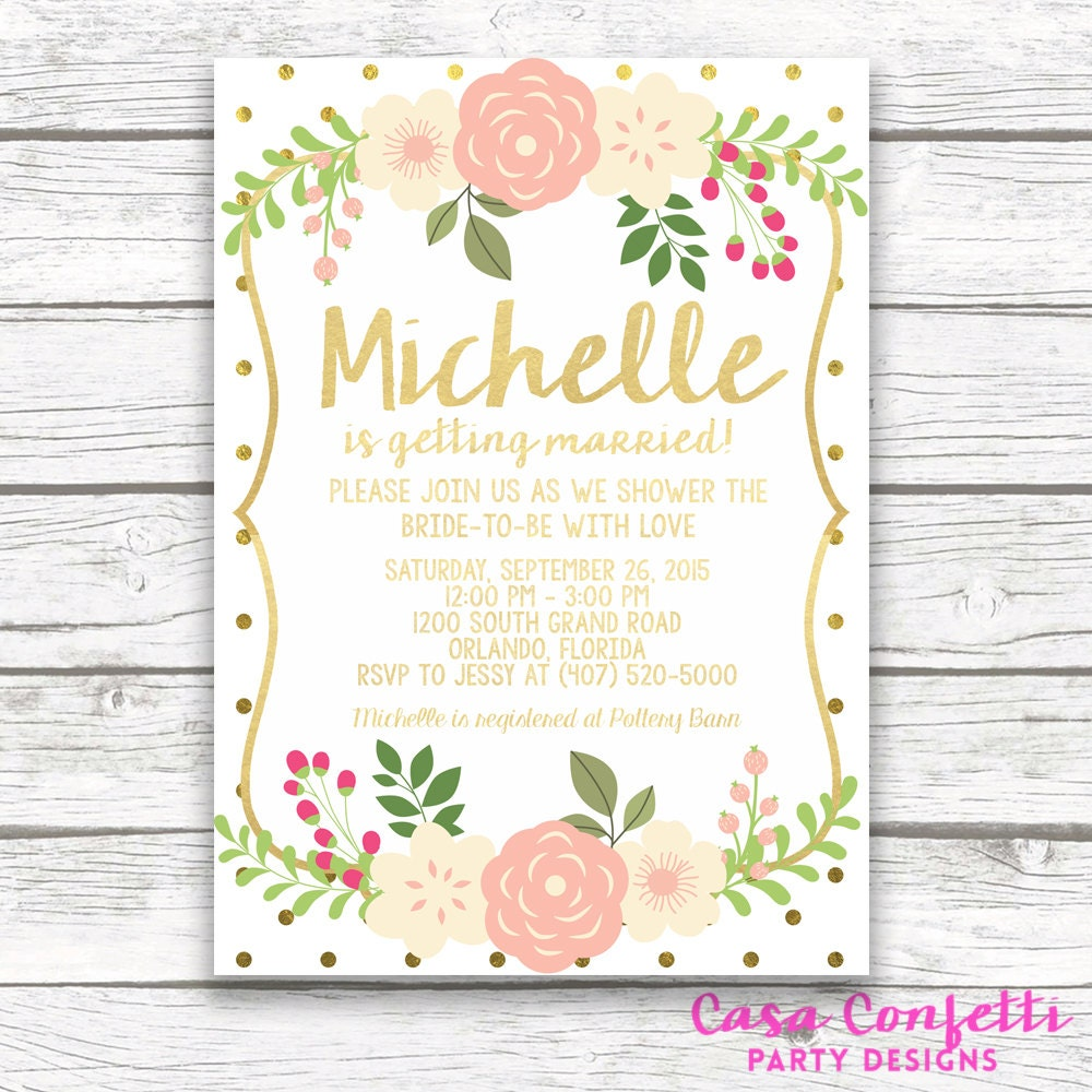 Gold foil bridal shower invitation w matching back pink and gold gold foil bridal shower invitation w matching back pink and gold polka dot bridal shower pink peony printed or printable invitation filmwisefo