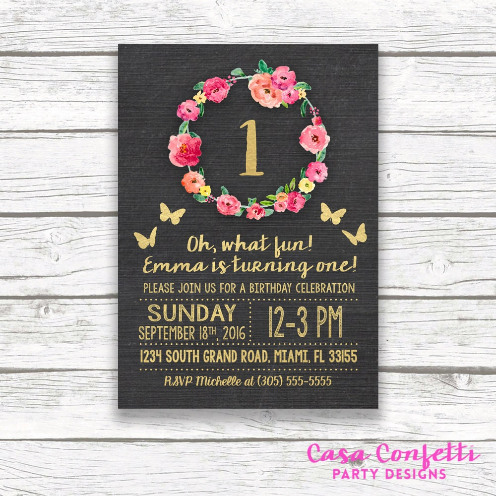 Chalkboard gold foil butterfly first birthday invitation girl one chalkboard gold foil butterfly first birthday invitation girl one 1st birthday pink floral wreath printable invitation matching back filmwisefo
