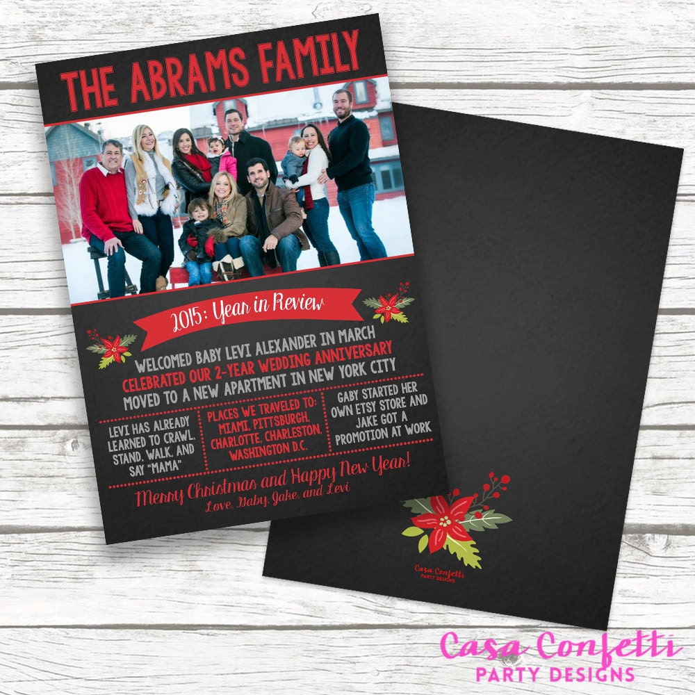chalkboard year in review christmas holiday photo card newsletter family christmas card personalized printed or printable matching back - Year In Review Christmas Card
