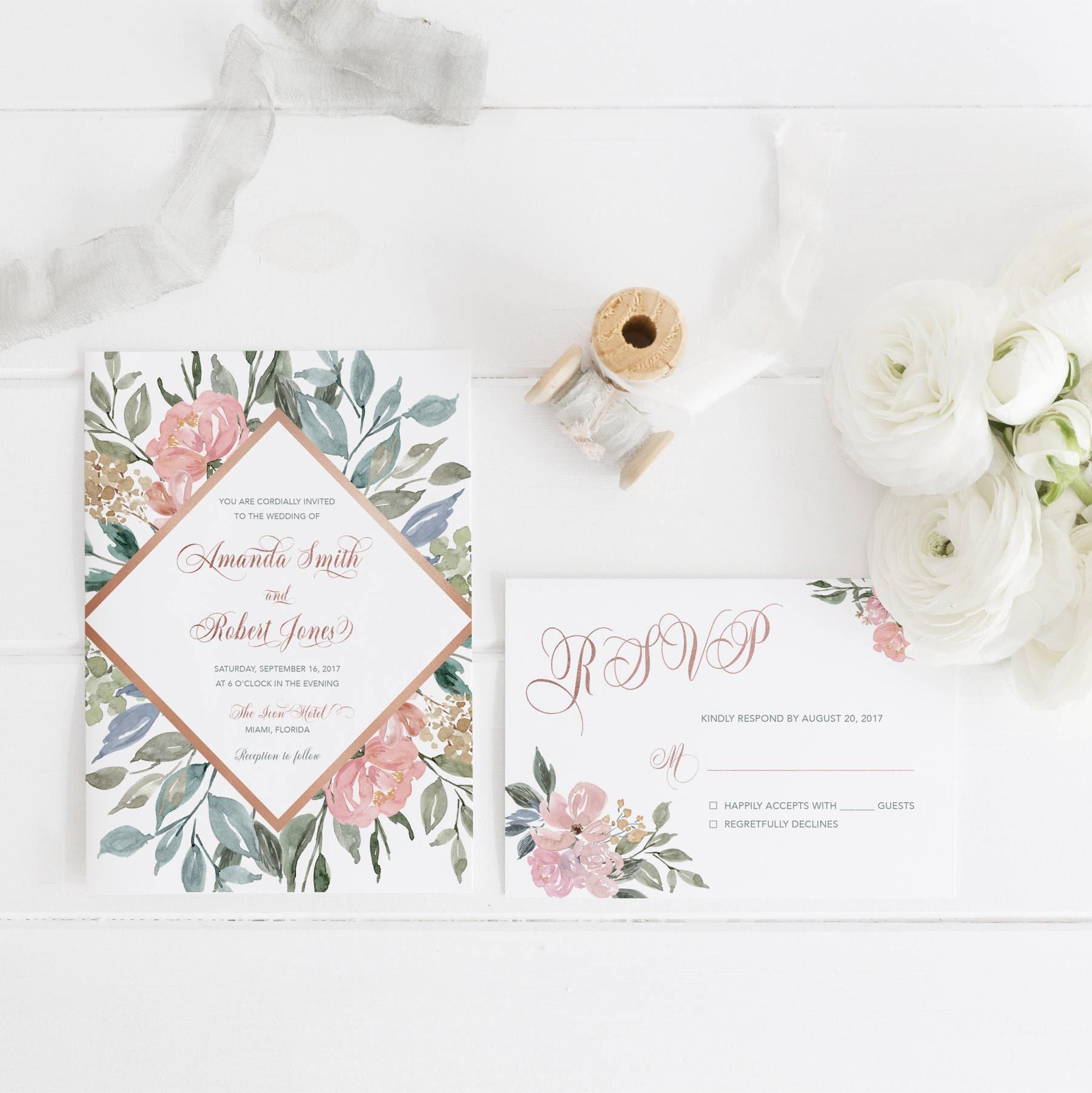 Rose Gold Wedding Invitation Blush Floral Wedding Invitation Blush