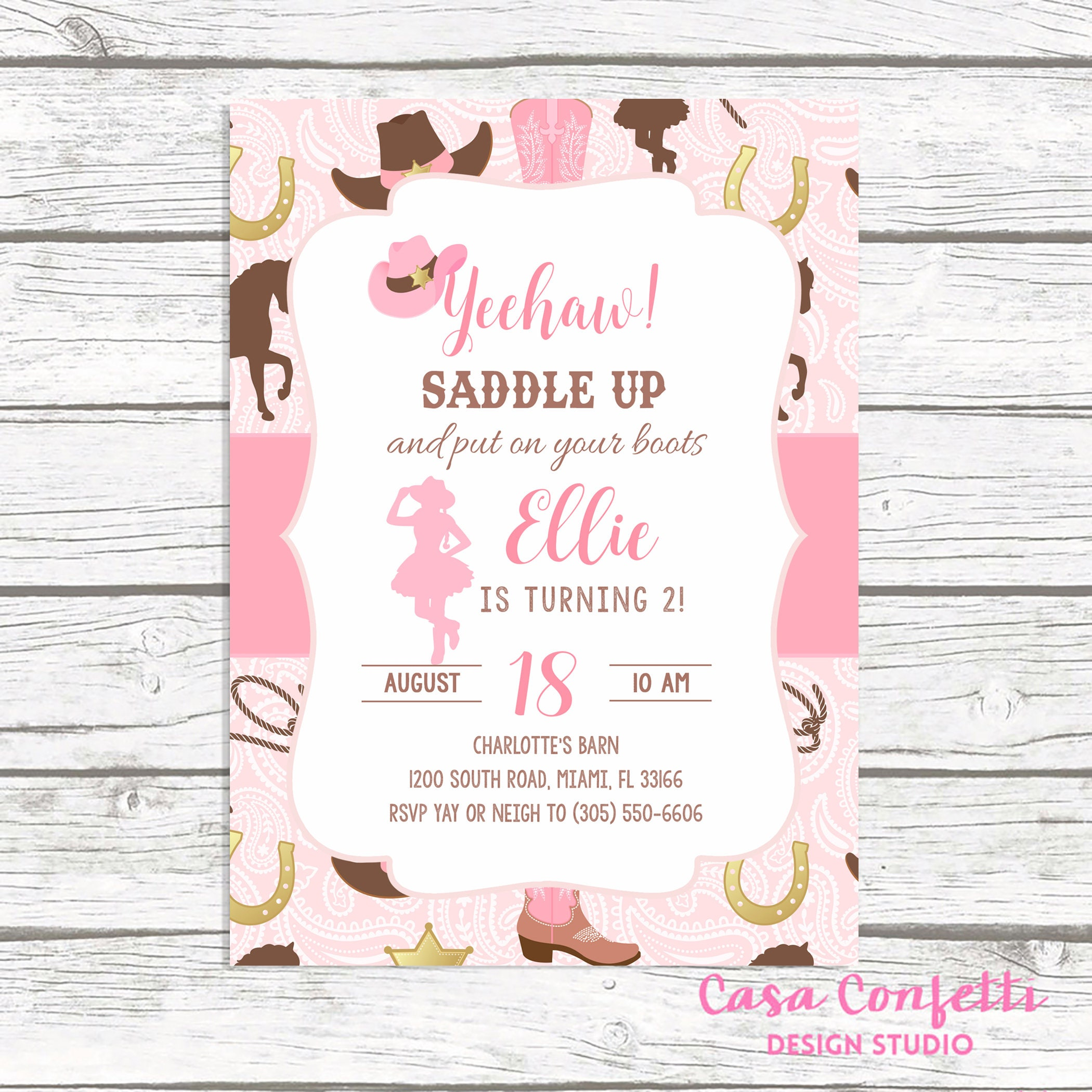 Cowgirl Birthday Invitation Girl, Cowgirl Birthday Party Invitation ...