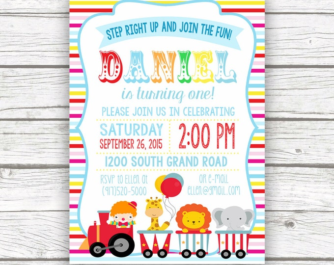 Circus Invitation, Circus Birthday Invitation, Carnival Theme, Boy Girl Birthday Party, First 1st Birthday, Printed or Printable Invitation