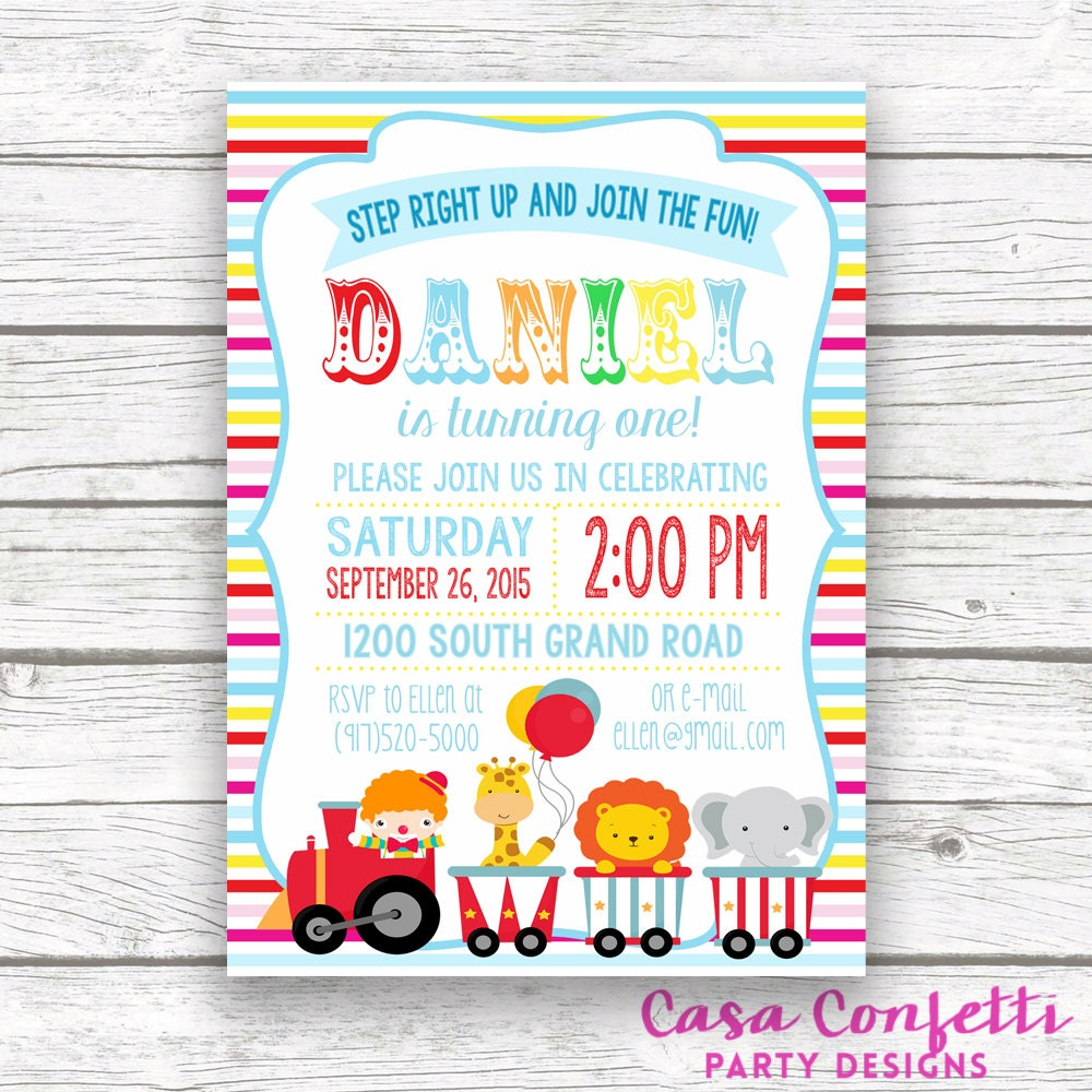Circus Invitation, Circus Birthday Invitation, Carnival Theme, Boy ...