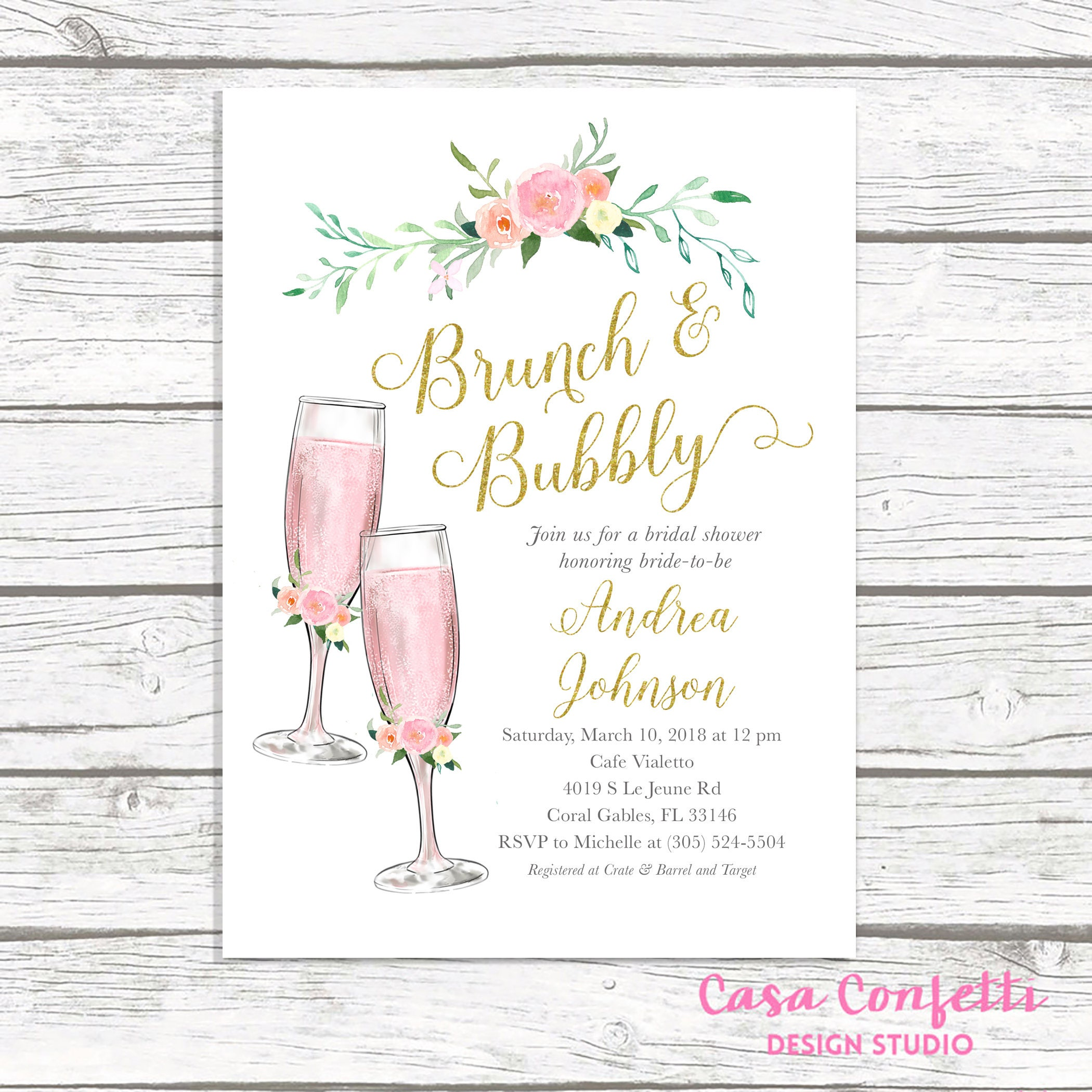 Brunch and Bubbly Bridal Shower Invitation, Brunch & Bubbly ...