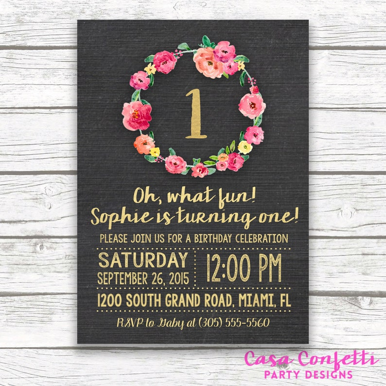 Chalkboard Gold Foil First Birthday Invitation Girl One 1st