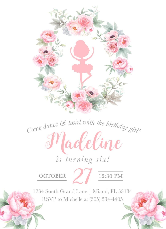 Ballerina Birthday Invitation, Ballet Birthday Invitation, Pink ...